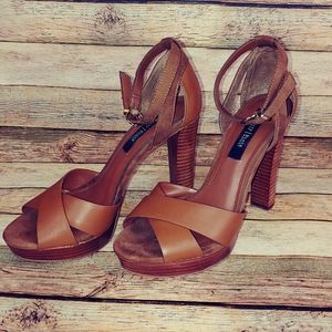 WHBM brown chunky ,wooden heels size 7